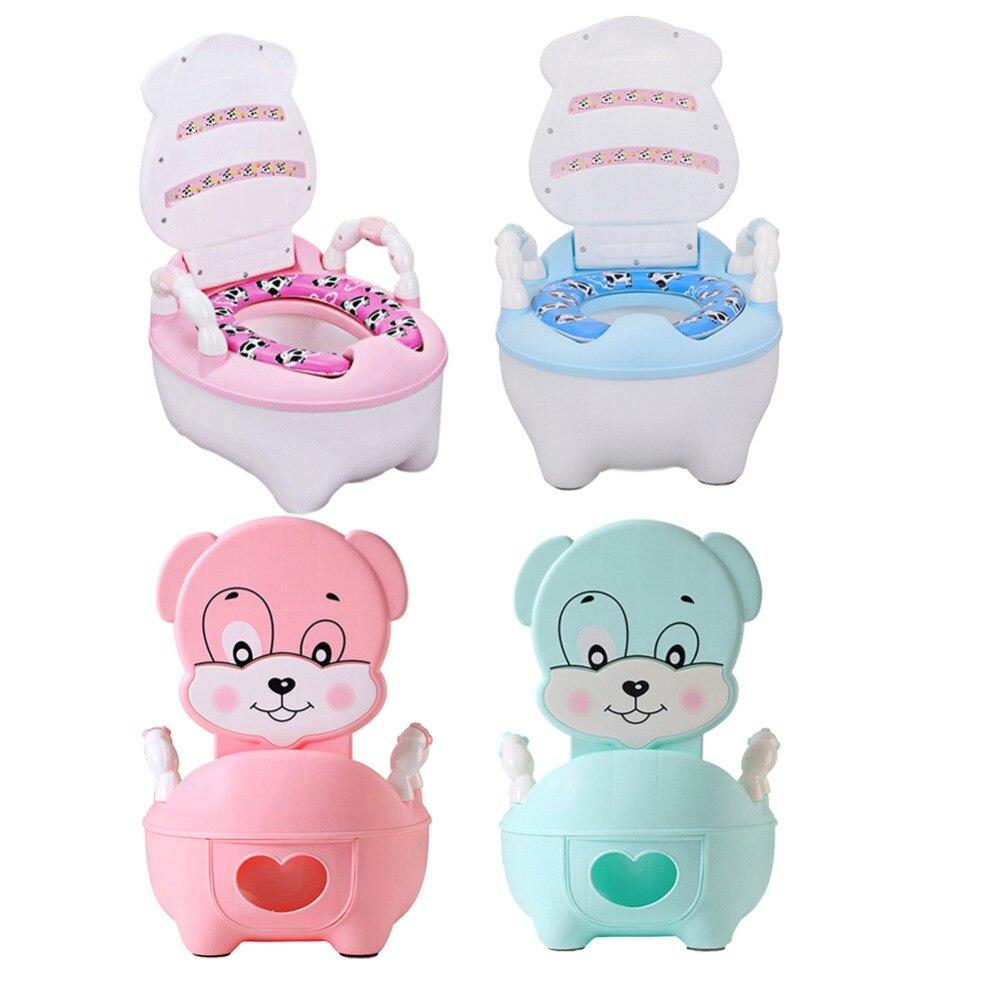 Baby Training Pan Toilet Seat Children's Pot Potty Toilet Bowl Kids Bedpan Portable Urinal Comfortable Backrest Cartoon Cute Pot