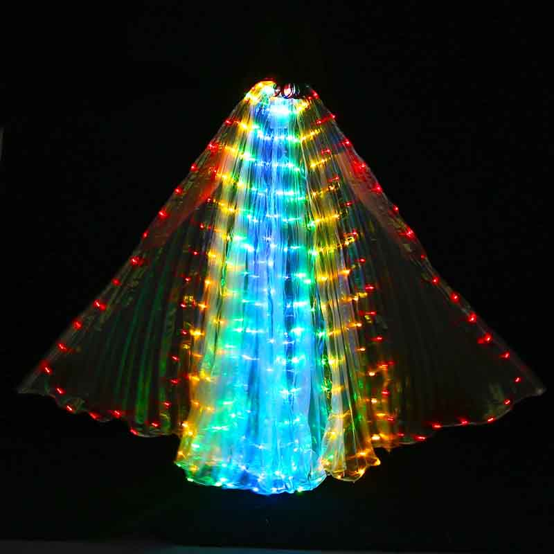 Colorful Led Isis Wings with Stick Belly Dance Accessory Stage Performance 360 Degrees LED Shining Wing Props Club Light Up Show