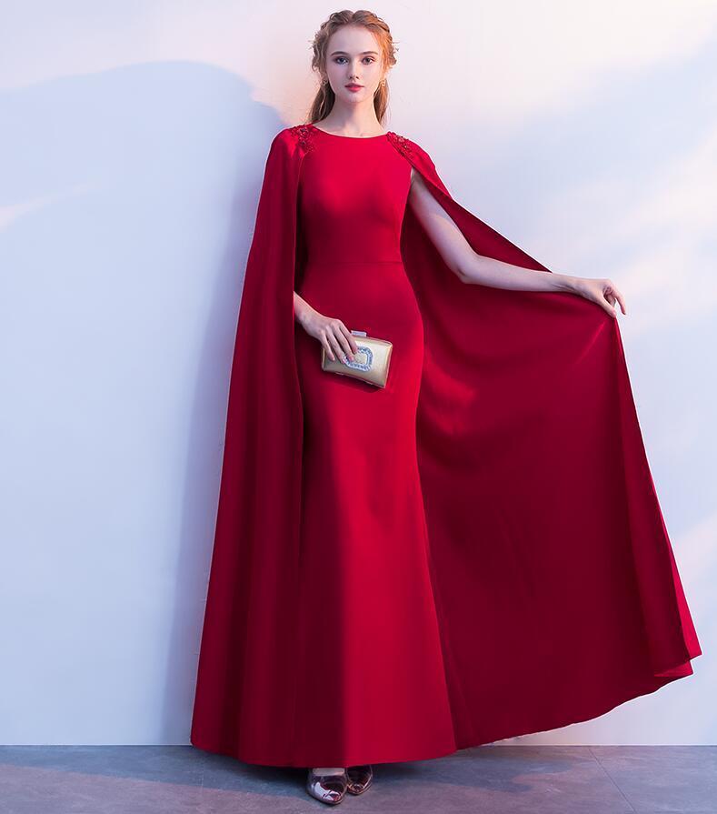 Mermaid   Evening     Dresses   long cloak 2019 flower decoration burgundy prom gowns crystal formal party   dress   sales Vestido de festa