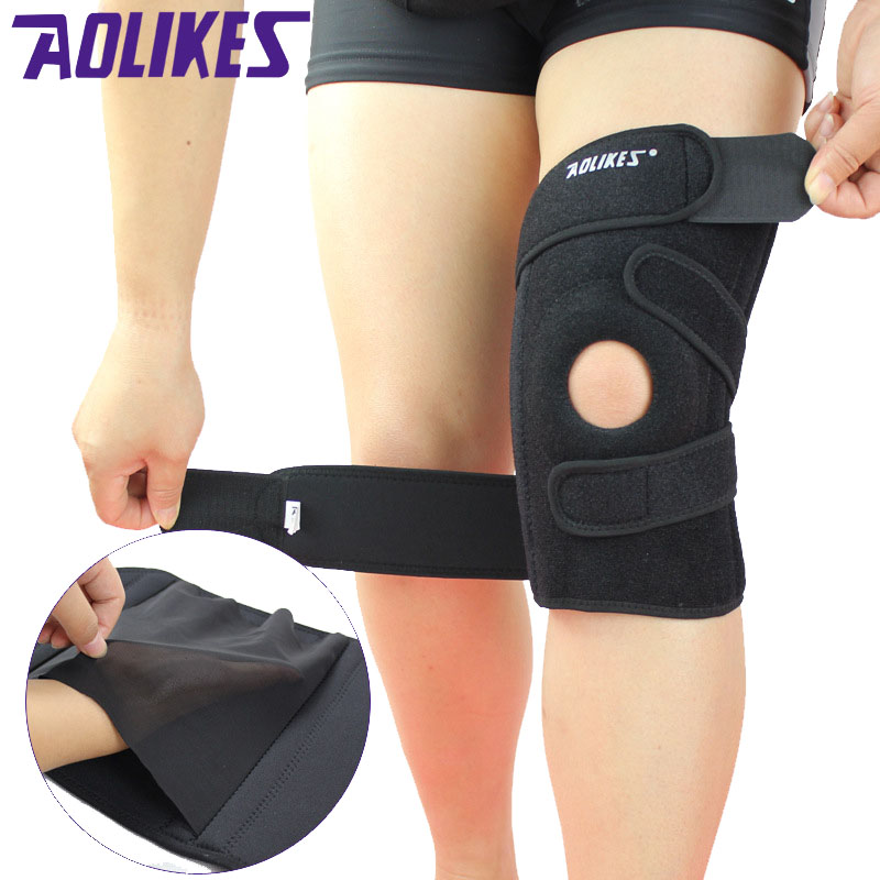 AOLIKES 1 Pair Cycling Knee Pads Brace With Springs Support rodillera Protectors Sports Safety Fitness kneepads Running Kneecap