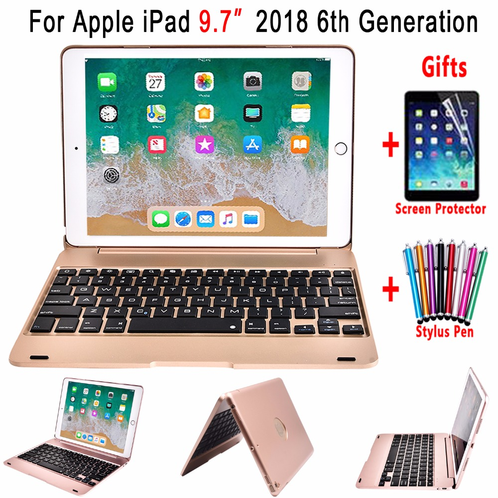 Smart Flip Cover for Apple New iPad 9.7 2018 6 6th Generation A1893 A1954 Wireless Bluetooth Keyboard Case + Screen Protector tpa apple ipod nano 5th generation 5g video silicone gel skin case cover pink w lcd screen protector adjustable armband belt clip fishbone keychain