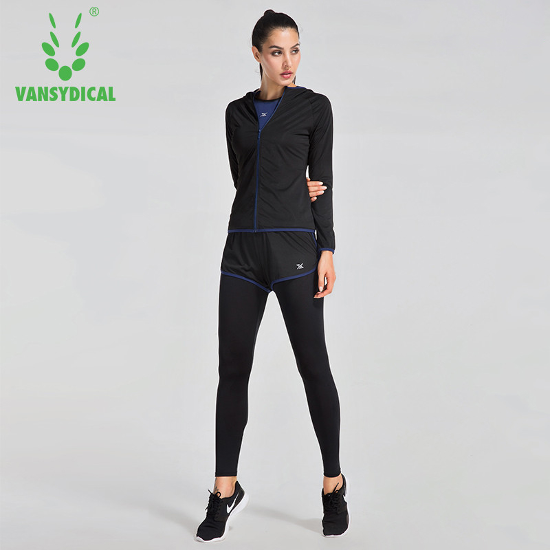 2017 Vansydical Sports Suit Female Autumn And Winter Running Loose Fitness Clothing Trousers 3pcs Professional Yoga Clothes new winter yoga suit five piece female ms breathable coat of cultivate one s morality pants sports suits running fitness