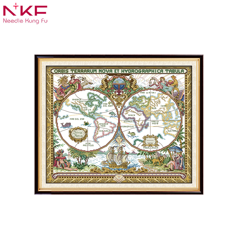 NKF Old World Map Counted Print On Canvas Cross Stitch Kit Patterns Chinese Embroidery Needlework Sets Diy Handicraft Home Decor