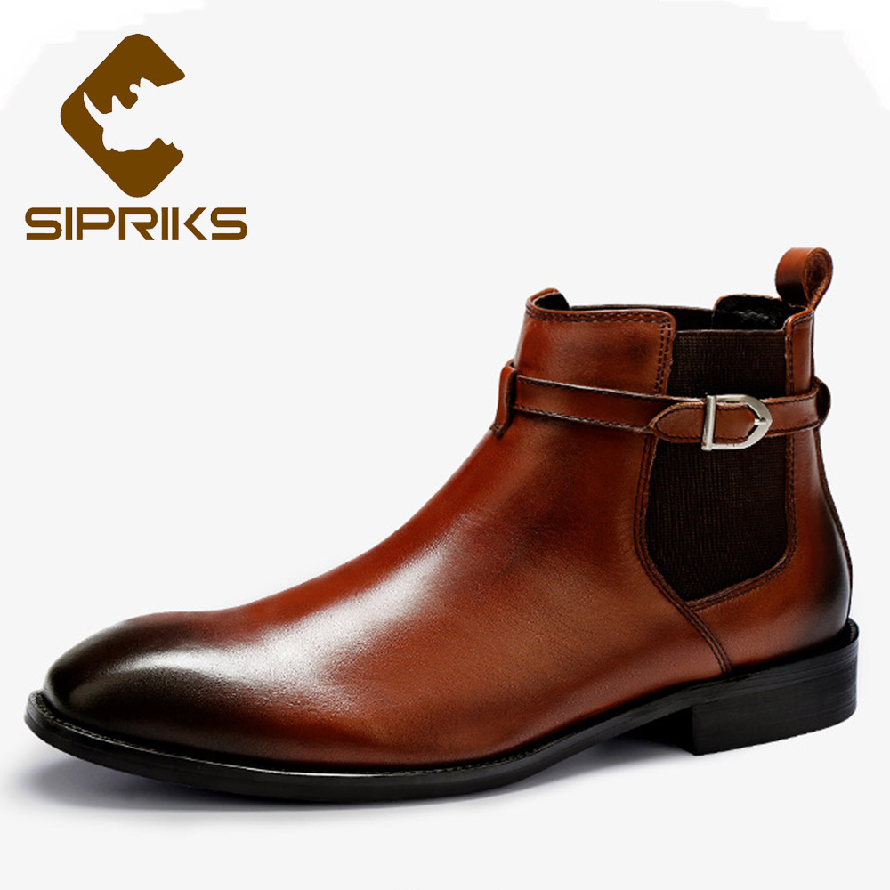 Sipriks Square Plain Toe Chelsea Boots With Buckle Strap Fashion Genuine Leather Mens Slip On Formal Ankle Boots Patina Shoes 45 pu slip on plain round toe mens oxfords