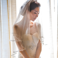 Beaded Bling Veil Two Layer Elbow Length Bridal Wedding Veils with Comb Fashion Blusher Vail Photography Honeymoon Handmade