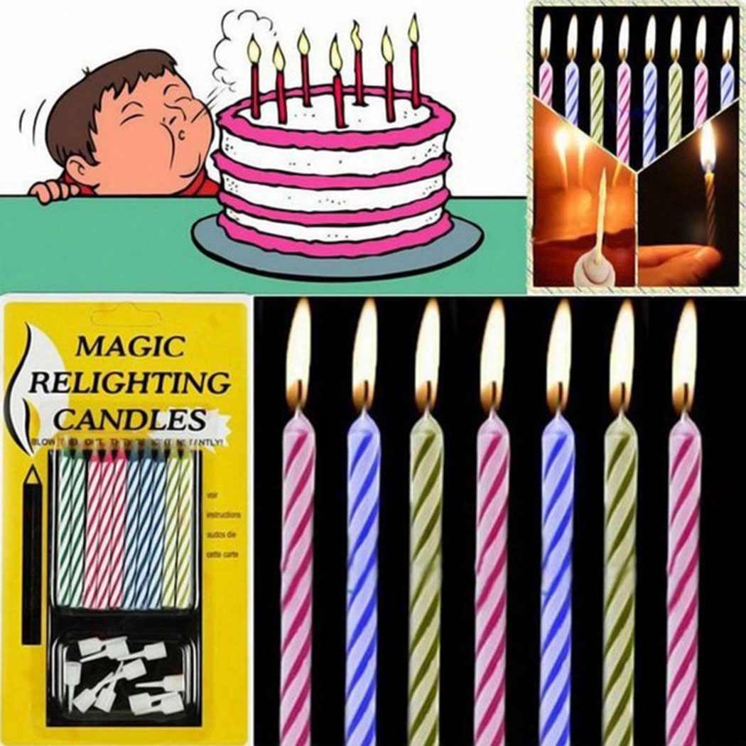 10Pcs/lot Funny Magic Relighting Candles Tricky Birthday Eternal Blowing Candles Party Birthday Cake Decors Drop Shipping
