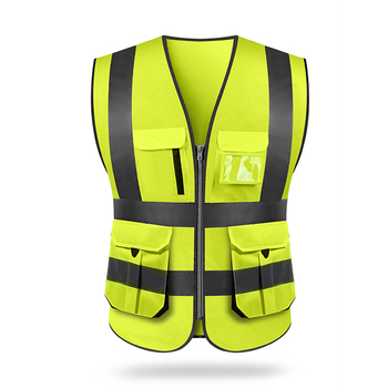 Reflective Vest Outdoor High visibility reflective safety vest reflective vest multi pockets workwear safety waistcoat spardwear reflective safety clothing safety orange vest reflective vest work vest traffic vest free logo printing