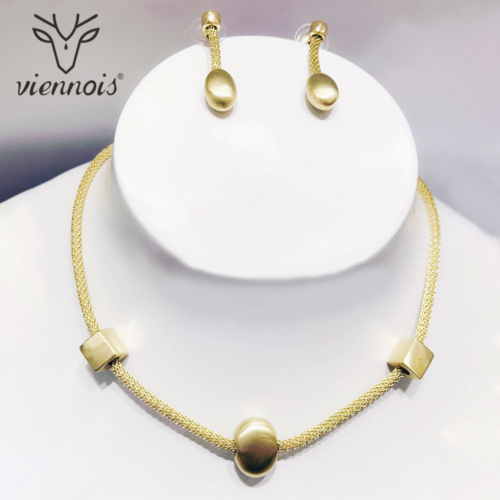 Viennois Gold Color Drop Earrings Jewelry Set for Women Female Party Jewelry Sets New viennois gold color geometric stud earrings for women water drop shape female earrings women fashion jewelry