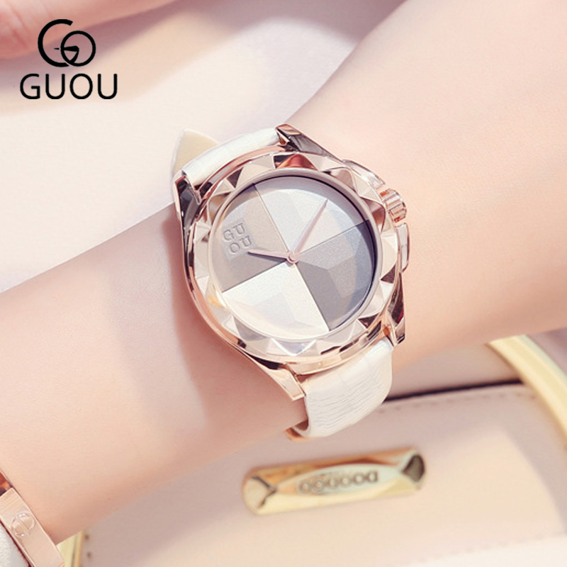 GUOU 2018 Luxury Rose Gold Watches Women Quartz Clock Women's White bracelet leather Ladies Wrist Watch for Woman Girls 7 Colors цена и фото