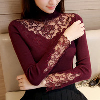 2017 Autumn Winter Women Sweaters And Pullovers Turtleneck Lace Crochet Slim Knitting Sueter Mujer Pull Femme