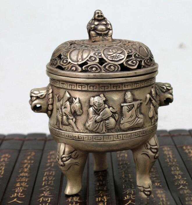 Antique bronze antique bronze incense burner incense ornaments eight furnace Xuande furn ...