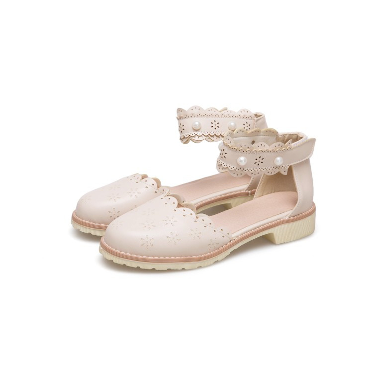Femmes Talons Pxelena Bout Ruches Rond Casual Collegiate Confort Crochet Conception Filles Perles Bas Carrés Fretwork rose Beige blanc Sandales Chaussures 34 43 BwpF04q