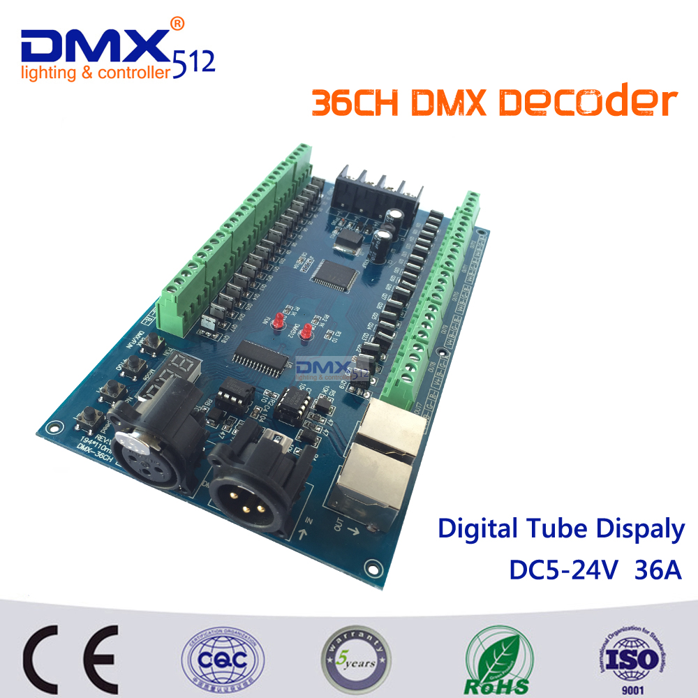 DHL Free Shipping 36CH dmx512 Controller,13 groups RGB output ,have(XLR&RJ45) ,each channel Max 3A, For LED strip light fast shipping 3pcs 24ch dmx512 controller decoder ws24luled 24 channel 8groups rgb output dc5v 24v for led strip light module
