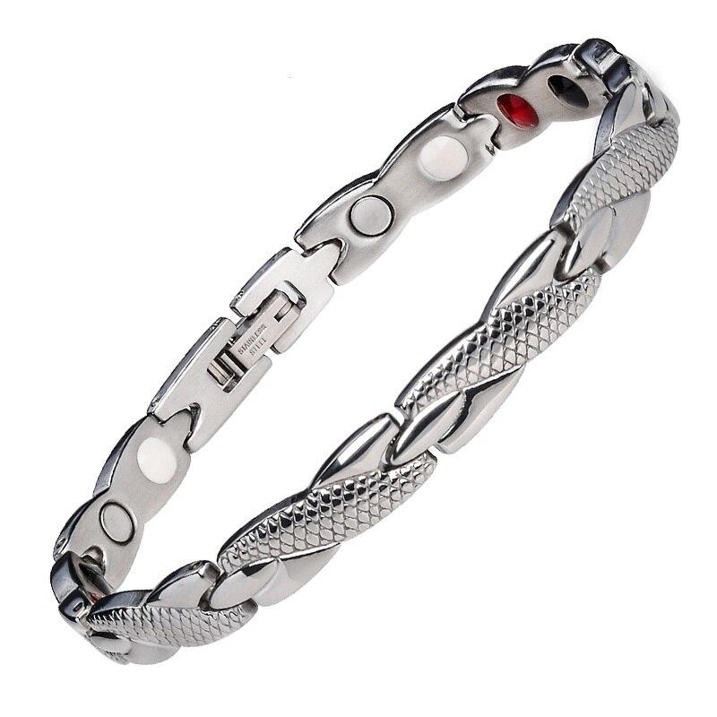 Modeschmuck Healing Magnetische Bio Energie Armband Für Männer Blutdruck Zubehör Silber Armbänder Geschenk