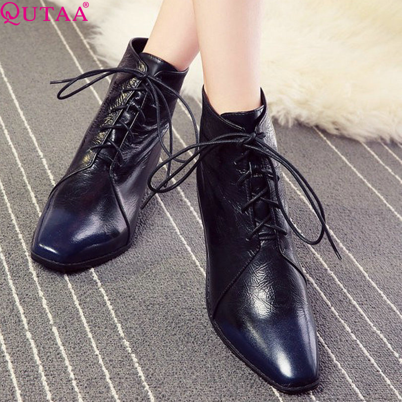 ФОТО QUTAA Hot Sale Genuine Leather Winter Women Boots Fashion High Heel Shoes Ankle Snow Boots size 34-39