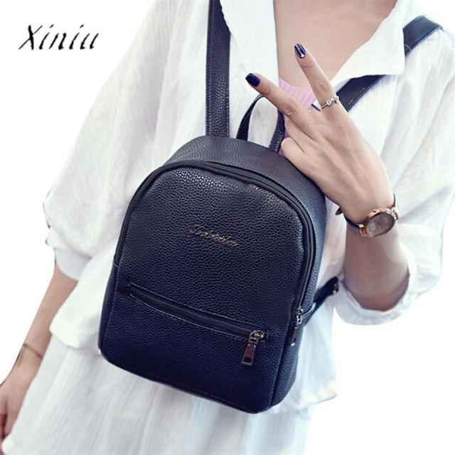 7e0a5526eecbb8 Girls Leather School Bag Travel Backpack Satchel Women Shoulder Rucksack  High Quality Youth Backpacks for Teenage mochila