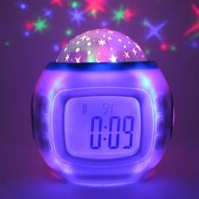 Music Starry Sky Projection Lamp Digital LED Night Light Clock With Calendar Light Color Changing for Home Table Decor(China)