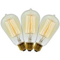 3 шт/лот ручной работы Эдисона лампы углерода нить из прозрачного стекла винтажная лампа Эдисона в стиле ретро лампы накаливания 40 Вт/60 Вт 220 ...