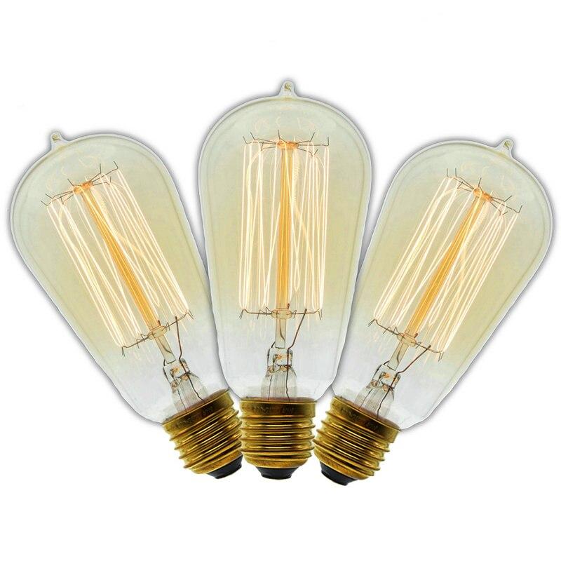 3 Pcs/Lot Handmade Edison Lamps Carbon Filament Clear Glass's Edison Retro Vintage Incandescent Bulb 40W/60W 220V E27 ST58