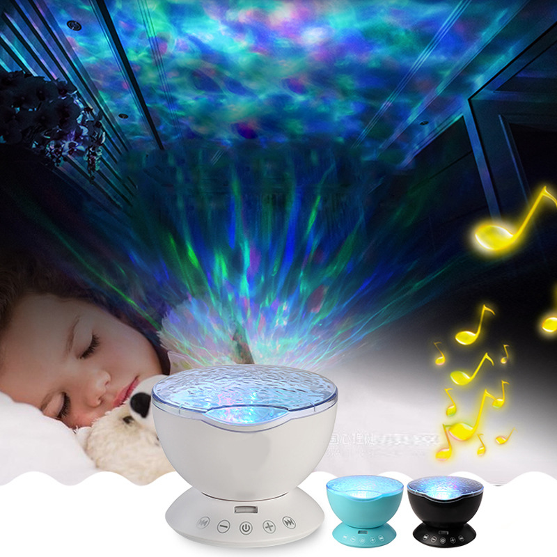 LED Ocean Wave Starry Sky Aurora Projector Lamp USB Luminaria Music Player For Baby Kid Sleep Night Light Home Decoration Lamps