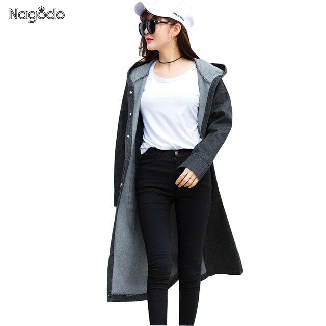 2016 Новая Зимняя Длинное Пальто Свободно Капюшоном Пальто Женщины Джинсовый Плащ Манто Femme Abrigo Mujer NG1705