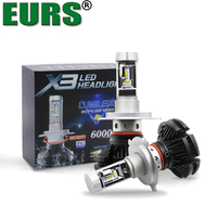 EURS TM 2PCS All In One X3 ZES Chip H4 Hi Lo Beam Led Auto Headlamps