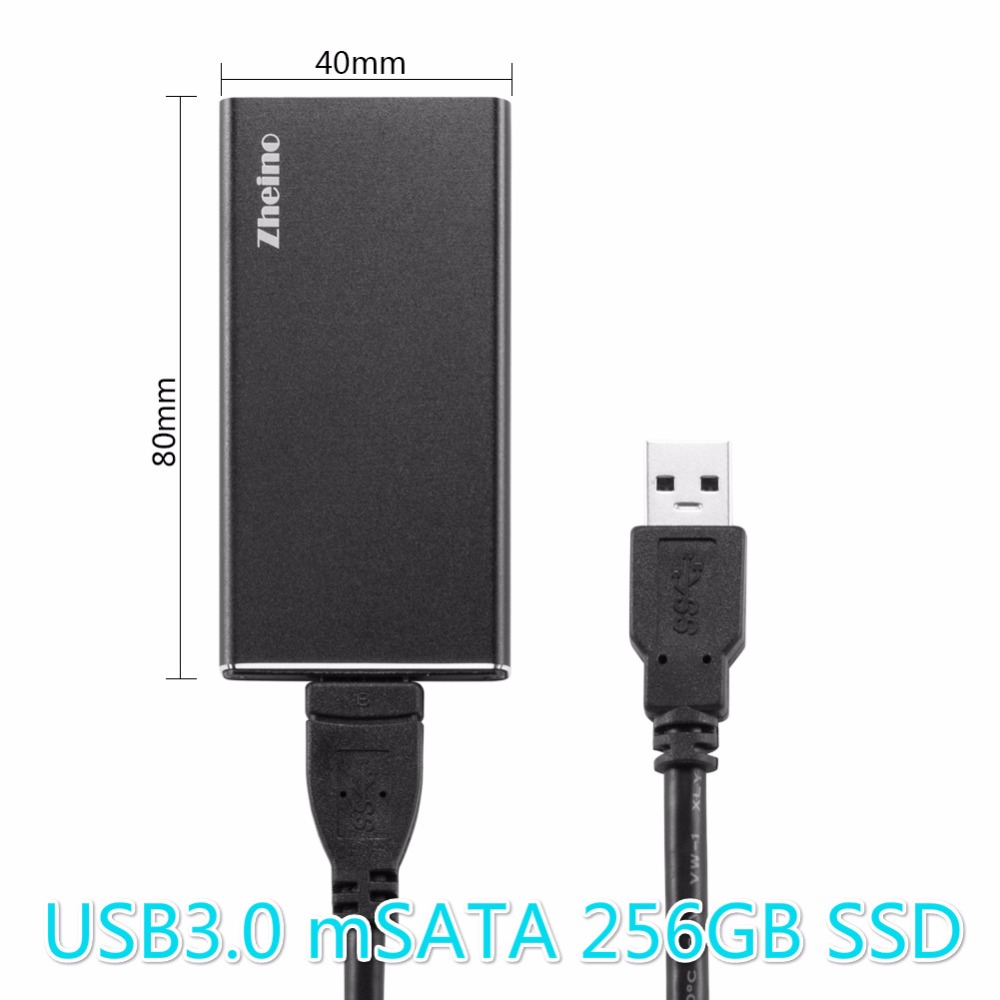Zheino P3 USB3.0 Portable External 256GB SSD Aluminum Case Super Speed with mSATA Solid State Drive for Hlaf mSATA and mSATA SSD samsung t5 portable ssd fast speed usb 3 1 ssd drive