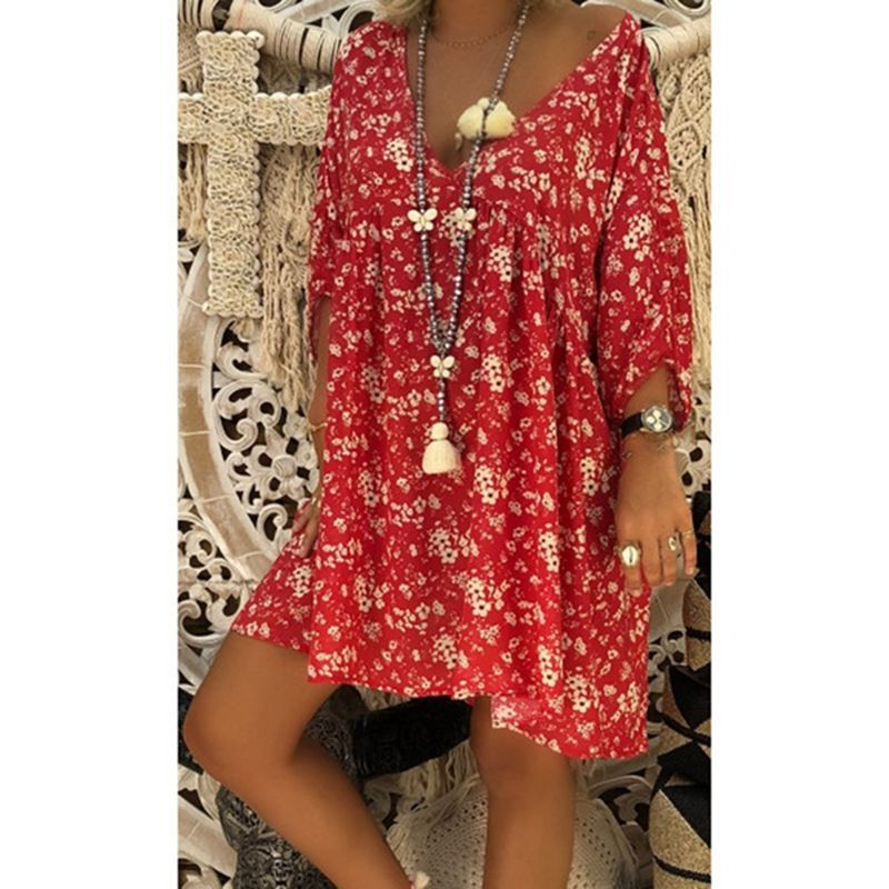 2019 autumn new sexy fashion print loose seven-point sleeve women's V-neck dress  summer floral tshirt Cotton Casual Plus Size 1