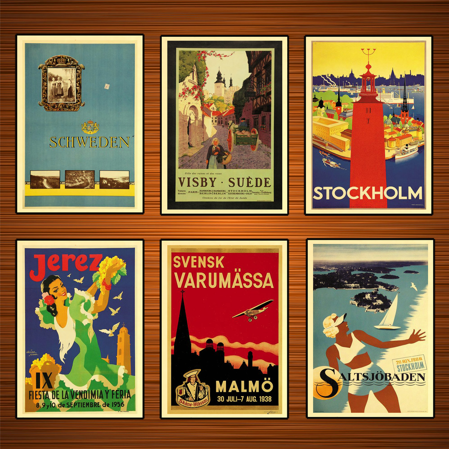 Sweden Tourism Travel Posters <font><b>Malmo</b></font> Classic Wall Sticker Canvas Paintings Decorative Vintage Poster Home Bar Decor Gift image