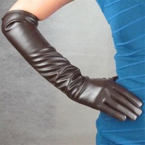 Перчатки женские, искусственная кожа, длинные, 50 см, выше колена, коричневый, черный, винно-красный, с драком, коричневый, ретро, элегантные, ш...