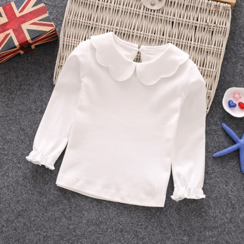 все цены на Baby Girls Shirt Long Sleeve T-shirt Cotton Casual Princess Toddler Solid Tops Blouse