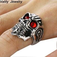 Promotion! Mens  Skull Rings For Men Stainless steel Biker Rock Jewelry Fashion Punk Skeleton Gold
