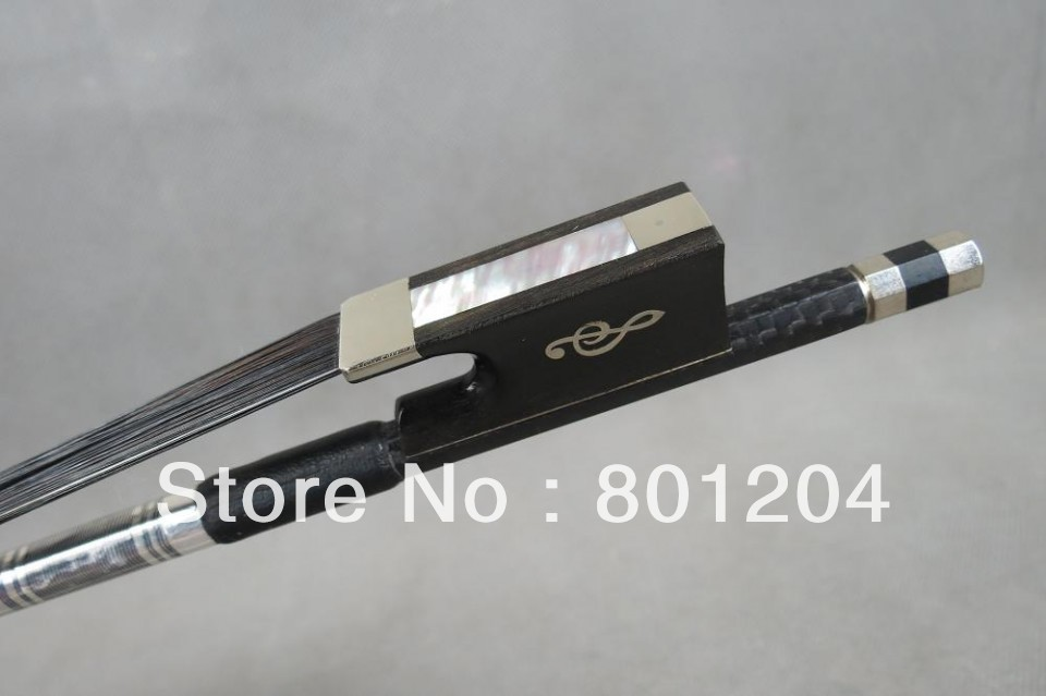 2pcs violin carbon fiber bow 4/4(WITH BLACK BOW HAIR) with 10 hanks of WHITE violin bow hair 80cm in length 2 pcs quality black carbon fiber violin bow black bow hair ebony frog with carved flower 4 4