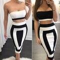 Fashion Sexy Womens Bodycon Faldas Vendaje de Dos Piezas Crop Bustier Tops y Falda Conjunto
