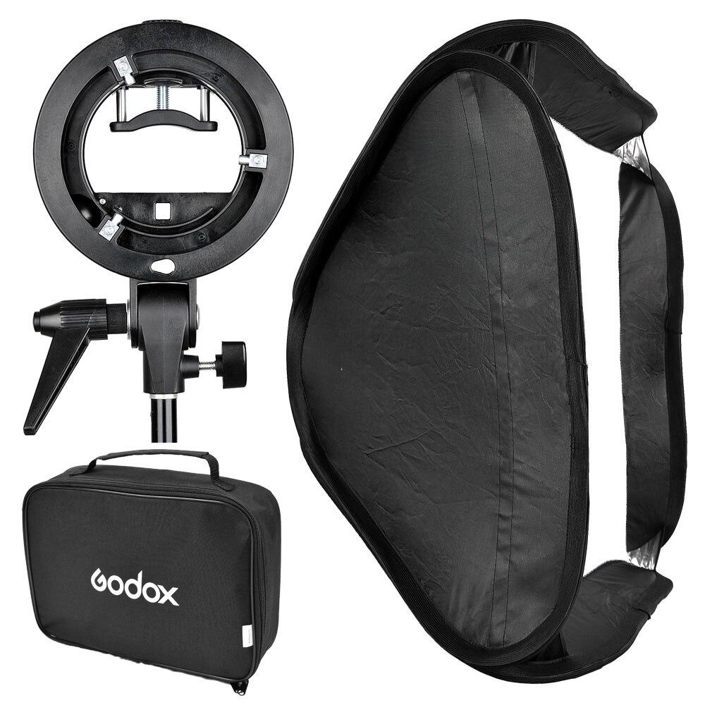 Godox S-Type Speedlite Bracket Comet Mount Holder + 60 x 60cm Diffuser Softbox for Studio Photography godox floading adjustable godox 60 x 60cm flash softbox kit with s type bracket bowen mount holder for camera photo studio