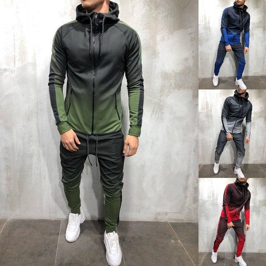 Zogaa 2 Pieces Sets Tracksuit Men New Brand Autumn Winter Hooded Sweatshirt +Sweatpants Patchwork Hoodies Slim Tracksuit Male