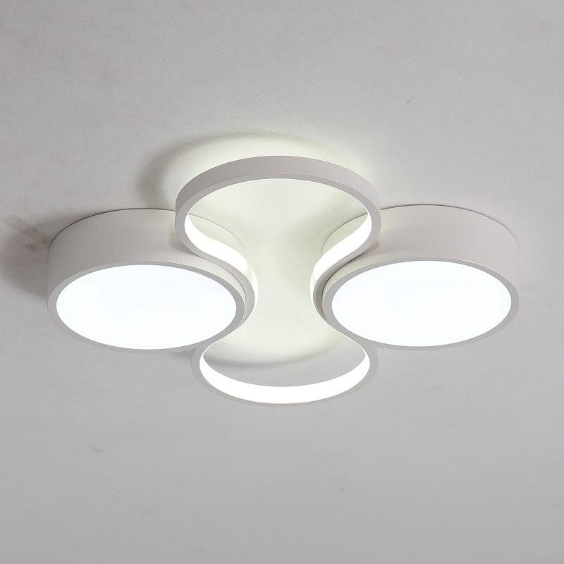 Modern Led Ceiling Lamp Bedroom Living Room Light With Remote Control White Metal Decor Home Lighting Fixtures Black lustre 220V