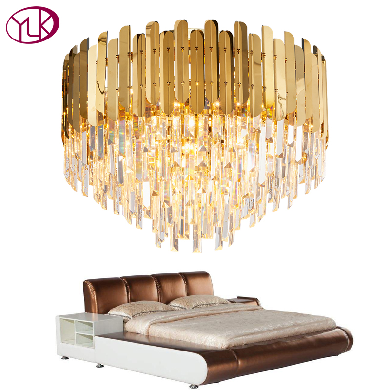 Youlaike Modern Crystal Chandelier Lighting For Ceiling Luxury Gold LED Cristal Lustre AC110-240V Round Living Room Crystal Lamp