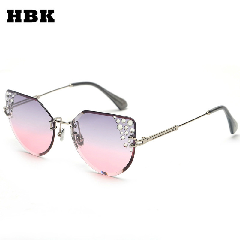 HBK New Fashion Trendy Rimless Sunglasses Ladies Big Frame Diamond Sun Glasses Vintage Personality High Quality Eyewear UV400