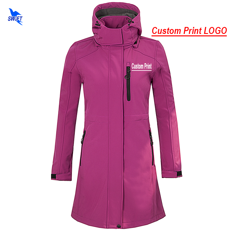 Custom Print Long Waterproof Softshell Jacket Women Outdoor Camping Fleece Thermal Hiking Hooded Coat Windstopper Ski Clothes