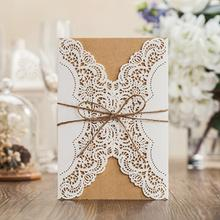 50pcs/pack Laser Cut Wedding Invitations Cards Free Customized Birthday Invitation with Bowknot Burlap Rope Party Invites Favors