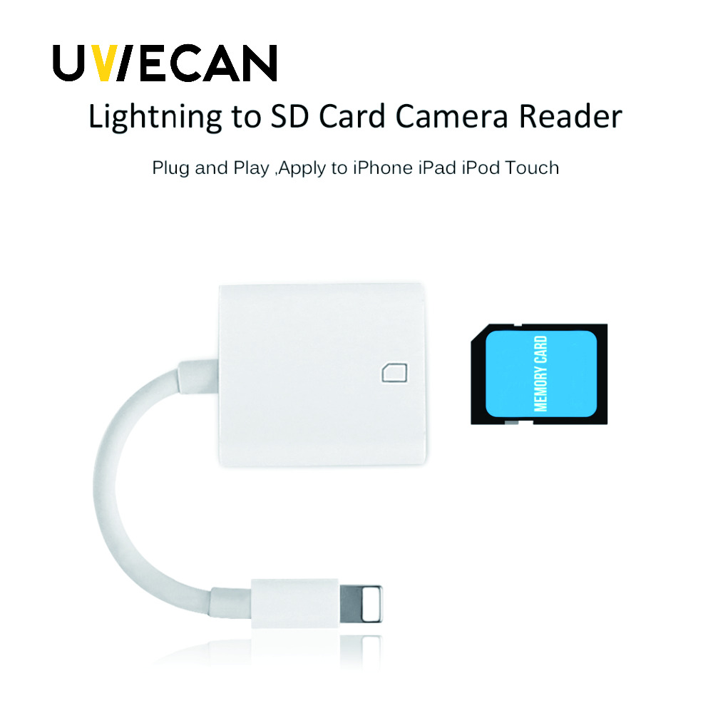 For Lightning to SD/TF card camera reader adapter Compatible Camera Kit OTG Data Cable Needn't APP For iPhone Apple iOS 9.2-11.3
