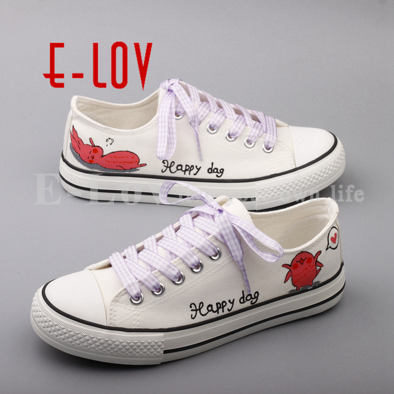 E-LOV Hand Drawing Canvas Shoes Graffiti Painted Women Shoes Cartoon Dogs Casual Shoes Low Top Flats zapatos mujer e lov unique design taurus horoscope luminous canvas shoes women diy graffiti couples lovers casual flats zapatillas mujer