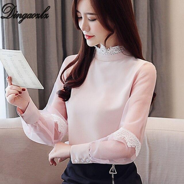 2571d1204f531 Dingaozlz Zarif şifon bluz bahar uzun kollu elbise Dantel gömlek Dikiş Örgü Kadın  giyim Rahat Tops