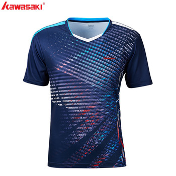 Kawasaki mężczyźni odzież sportowa koszulka z krótkim rękawem V Neck szybkie pranie oddychająca tenis Badminton T shirty siłownia odzież sportowa ST-S1121 tanie i dobre opinie V-neck Poliester Oddychające Pasuje prawda na wymiar weź swój normalny rozmiar