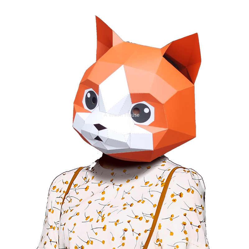Cadilar Bayrami Maskesi Kendi Basina Yap Kagidi Maskeleri Kedi