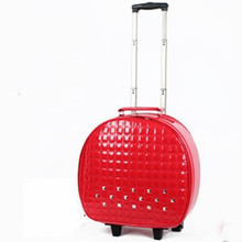 KUNDUI 2016 New large capacity men trolley luggage trolley bag leather mini car. Smith lever women directional wheel handbags