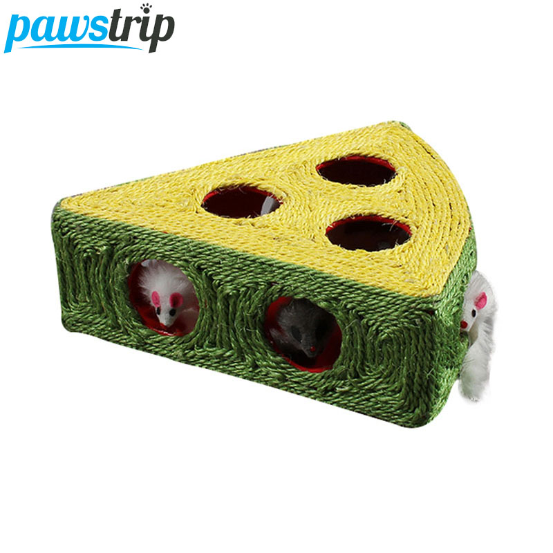 pawstrip Interactive Pet Cat Toys Mouse Inside Durable Sisal Cat Scratcher Funny Playing Cat Scratching Post 28x28x10cm