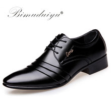 BIMUDUIYU Top Kwaliteit Mannen oxfords Jurk Schoenen Mode Lace-up Wedding Zwarte Schoenen Heren Wees Teen formele Kantoor Schoenen big Size(China)