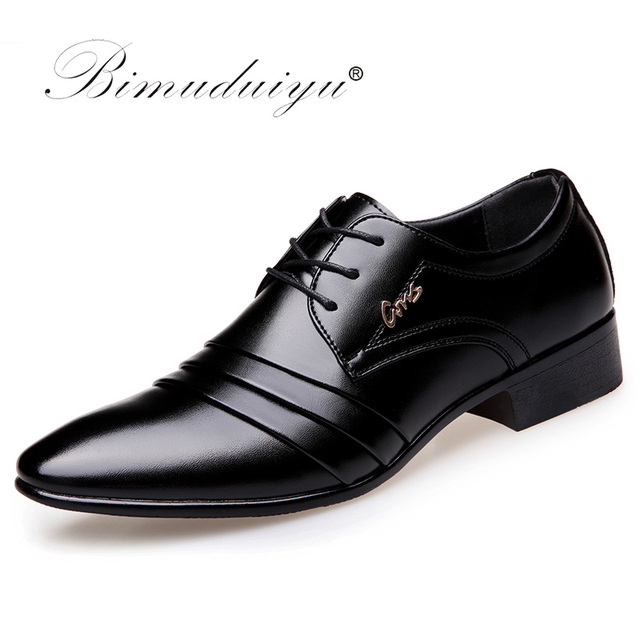 818990dc4c BIMUDUIYU Top Quality Men oxfords Dress Shoes Fashion Lace-up Wedding Black Shoes  Mens Pointed